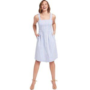 DRAPER JAMES Stripe Button Front Blue Dress NWT 8